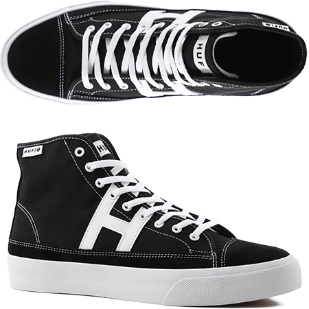 27623a2ca9 The Huf Hupper 2 Hi Black White Skate Shoes are classic canvas upper with  suede panels on the toe