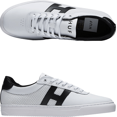 a793f8c8a7 Huf s Soto White Black Perforated skate shoes are high performance leather  skate shoes with the style and comfort that the industry demands.