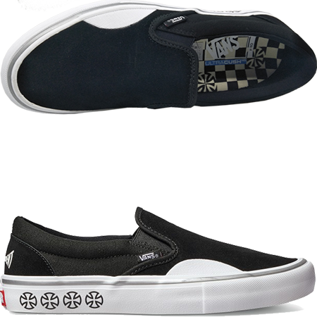 c1a5fda989 When two iconic skate companies collide the result is the Vans X  Independent Slip-On Pro Black White Skate Shoes. A new and improved Slip-On  with an updated ...