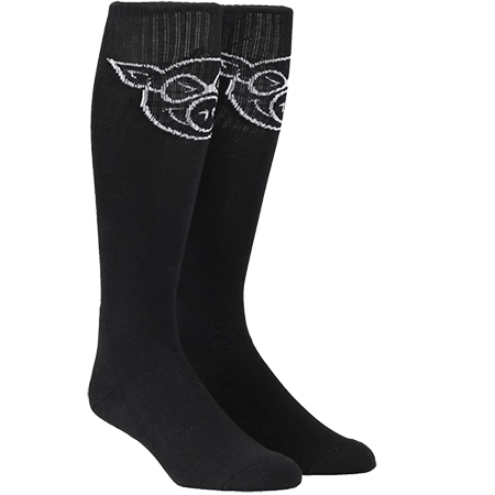 Pig Wheels Pig Head Tall Socks Black