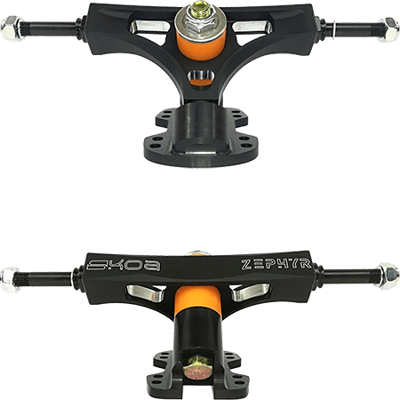 Skoa Zephyr Black CNC 136mm 47°/42° Precision Longboard Trucks