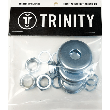 Trinity Skate Truck Axle Kit 4 x Nuts 8 x Washers 4 x Bushing Washers