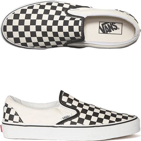 Vans Youth Slip-On Checkerboard Black White Skate Shoes