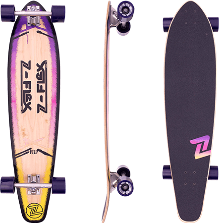 "Z-Flex Roundtail Pop Purple Fade 39.5"" Longboard Complete"