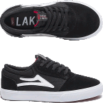 Lakai Kids Griffin Black White Suede Skate Shoes